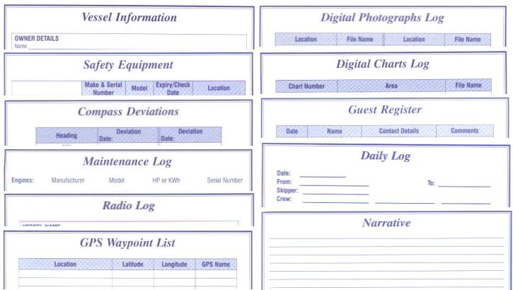 Views of the logbooks are available in this applet for Boat log book template
