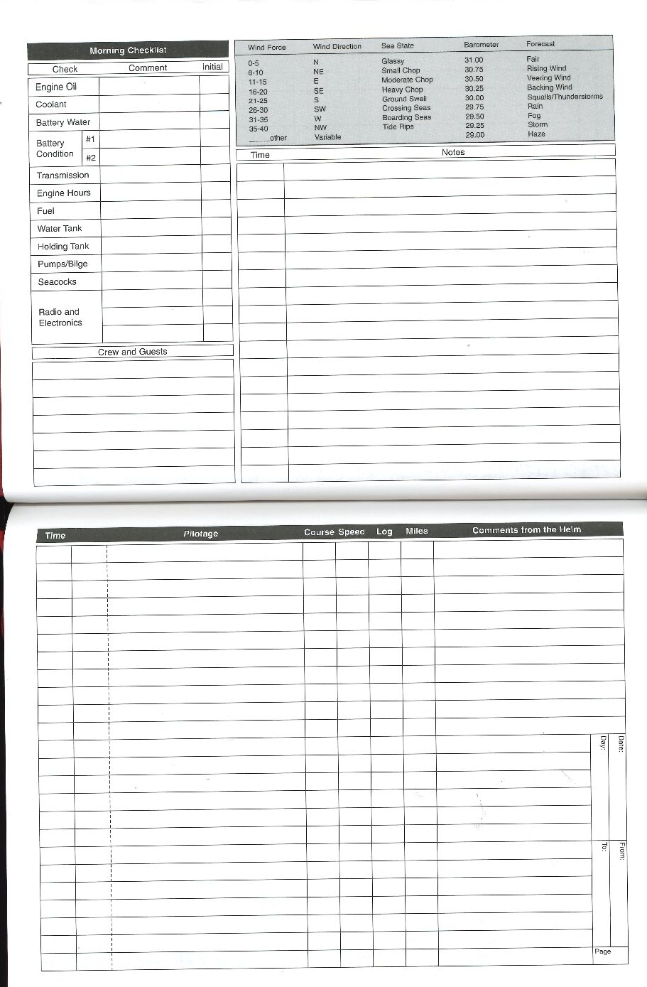 ship log book template